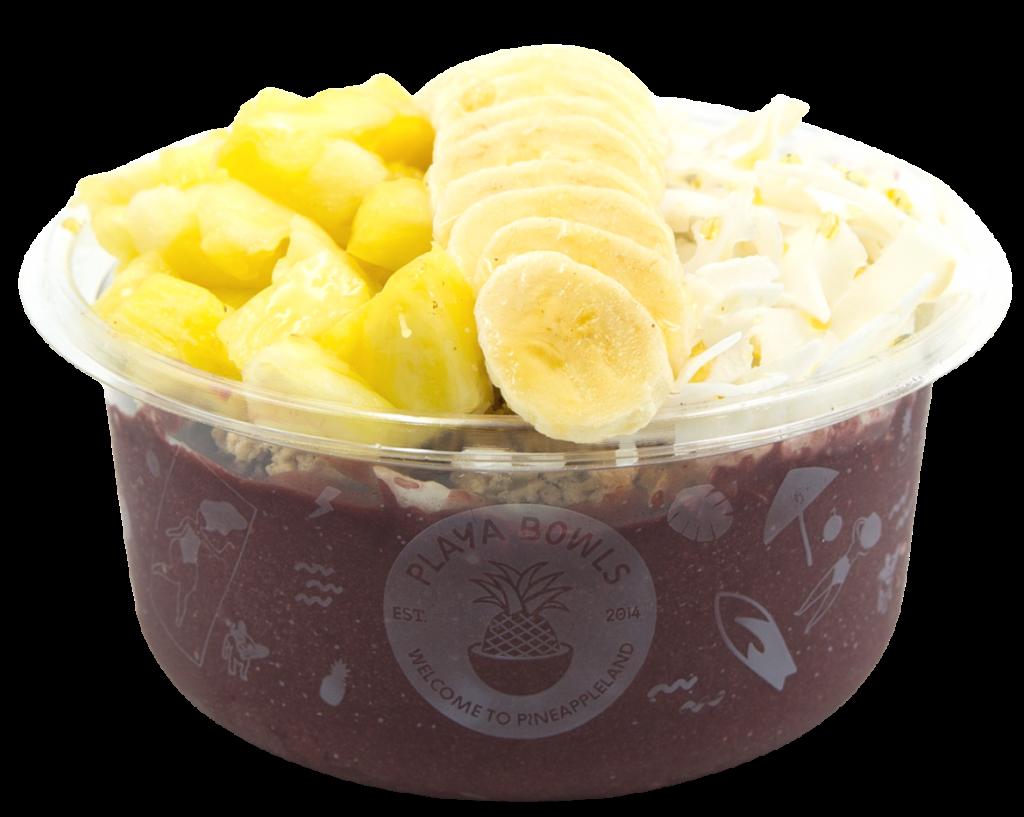 Pure acai topped with granola, banana, pineapple, coconut flakes, honey