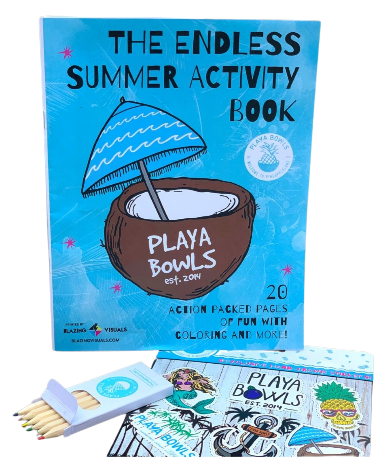 endless summer activity book, a Playa Bowls sticker sheet and colored pencils